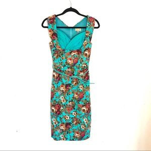 Lindy Bop Turquoise Floral Fitted Retro 5os Dress